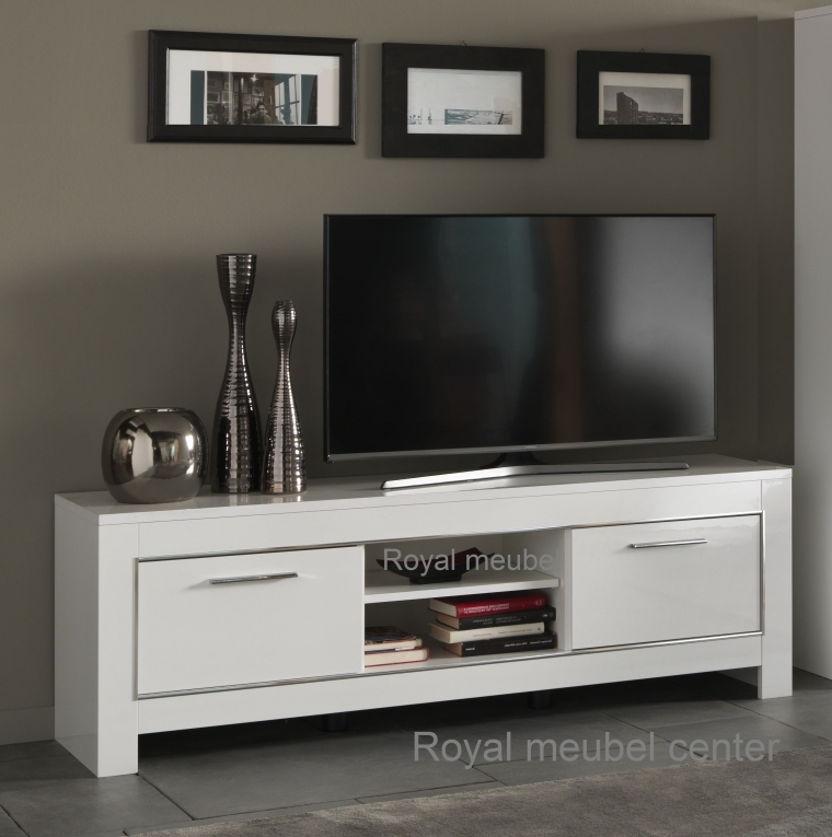 ... WOONKAMER MEUBEL > Design TV Tafels > Tv meubel hoogglans wit chrome