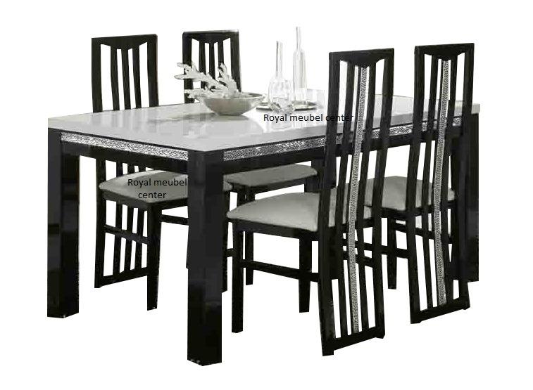 Zwart Wit Hoogglans Eettafel.Eettafel Forever Chrome Hoogglans Zwart Wit Eetkamer