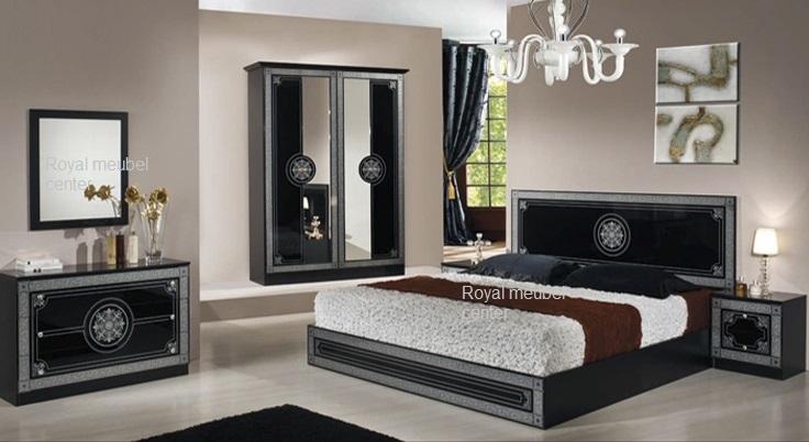 Slaapkamer klassiek Italiaanse hoogglans zwart bari set - Klassiek ...