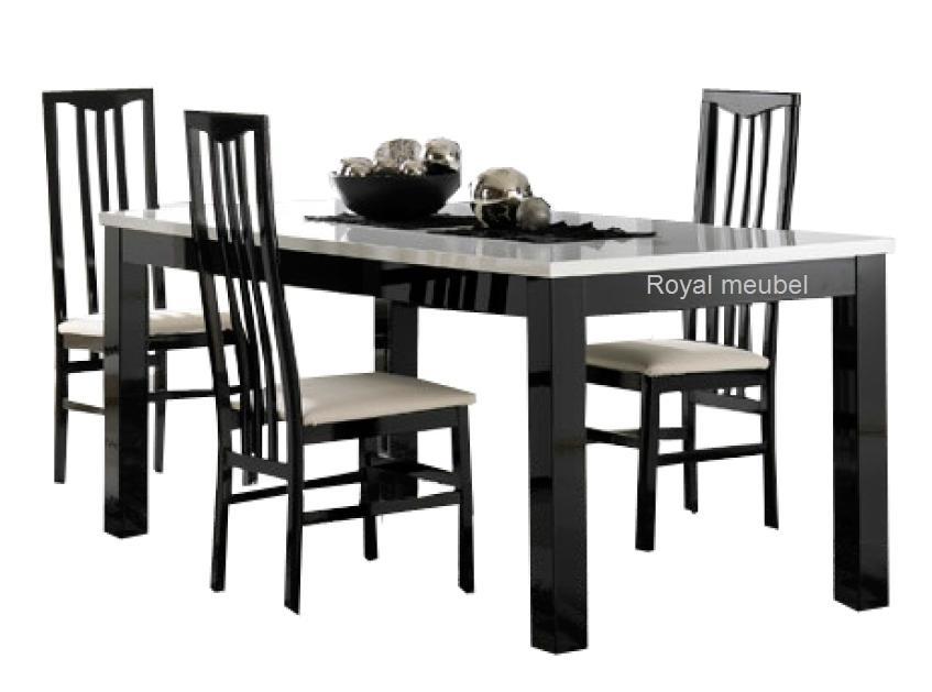 Zwart Wit Hoogglans Eettafel.Eettafel Forever Hoogglans Zwart Wit Eetkamer Tafels Royal