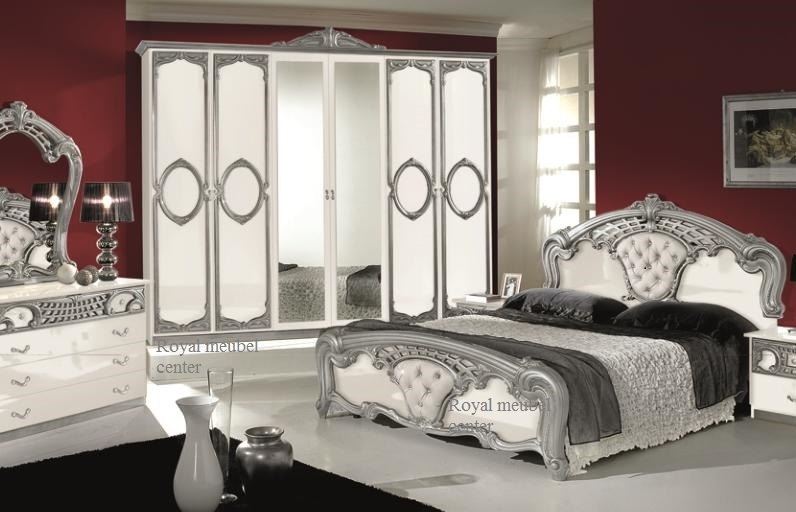 Slaapkamer klassiek Italiaanse hoogglans Toscana wit silver set ...