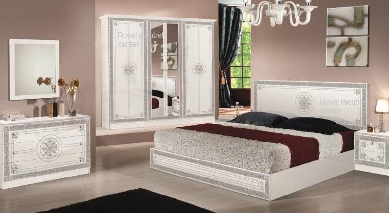 Slaapkamer klassiek italiaanse hoogglans wit bari set complete slaapkamers royal boxspring - Slaapkamer meubels ...