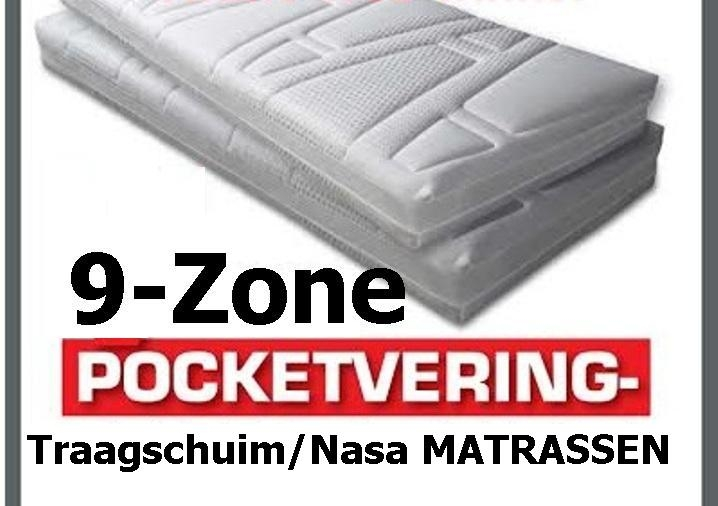 Pocket Matras Met Traagschuim.Pocketvering 9 Zone Nasa Traagschuim Matrassen