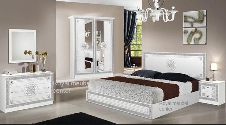 Slaapkamer klassiek italiaanse hoogglans wit bari set klassiek