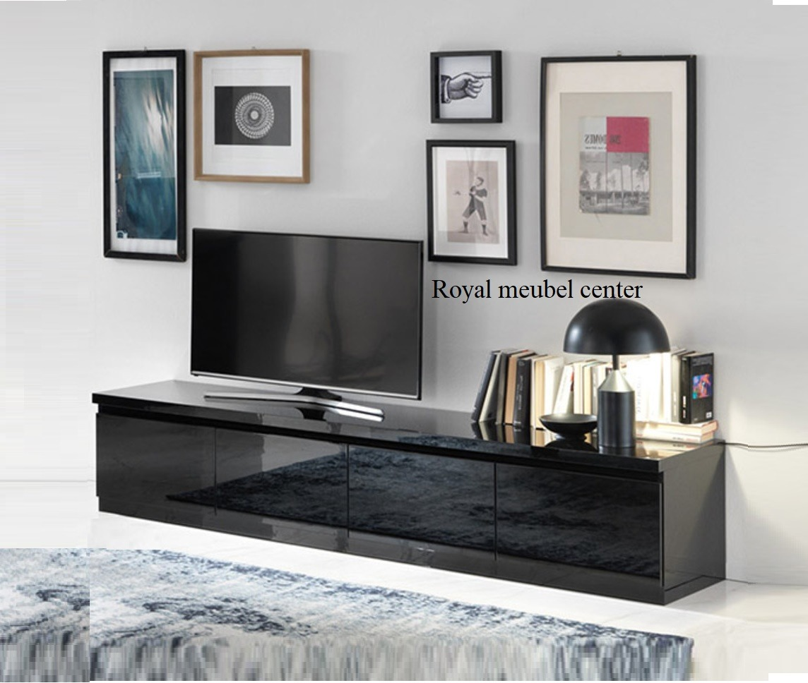 Tv Meubel Zwart Hoogglans.Tv Meubel Forever Xl Hoogglans Zwart 220 Cm Tv Plasma Tafels