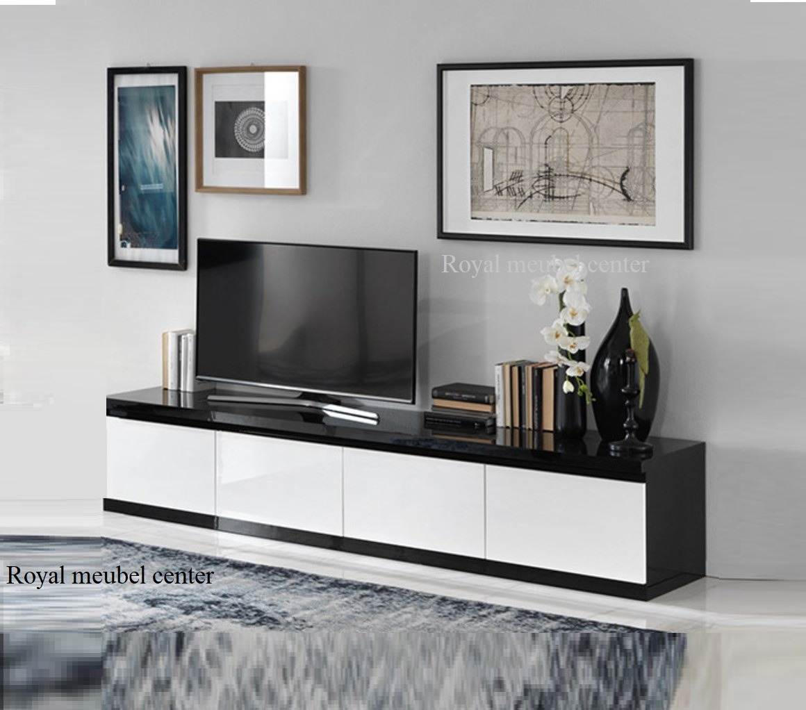 Tv Meubel Zwart Hoogglans.Tv Meubel Forever Xl Hoogglans Zwart Wit 220 Cm Tv Plasma Tafels