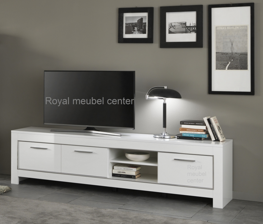 Tv meubel chrome hoogglans wit 207 cm tv plasma tafels for Hoogglans wit tv meubel