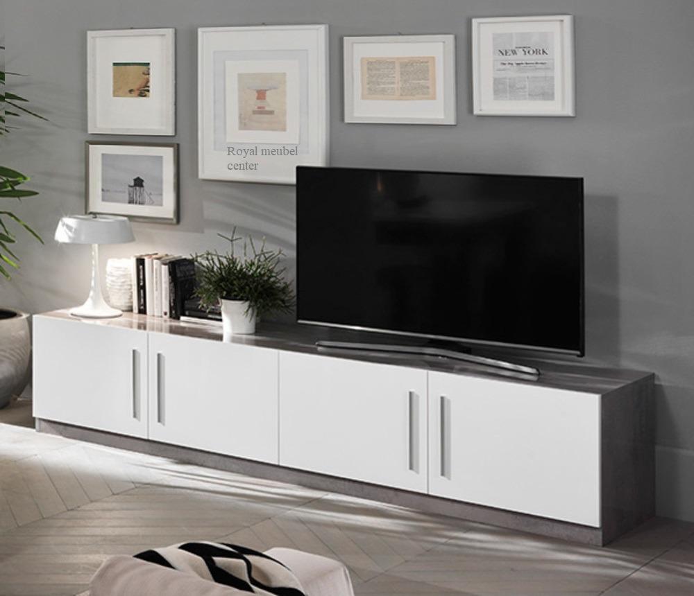 Beton Tv Meubel.Tv Meubel Xl Granada Hoogglans Wit Marmer Beton 208 Cm Tv Plasma