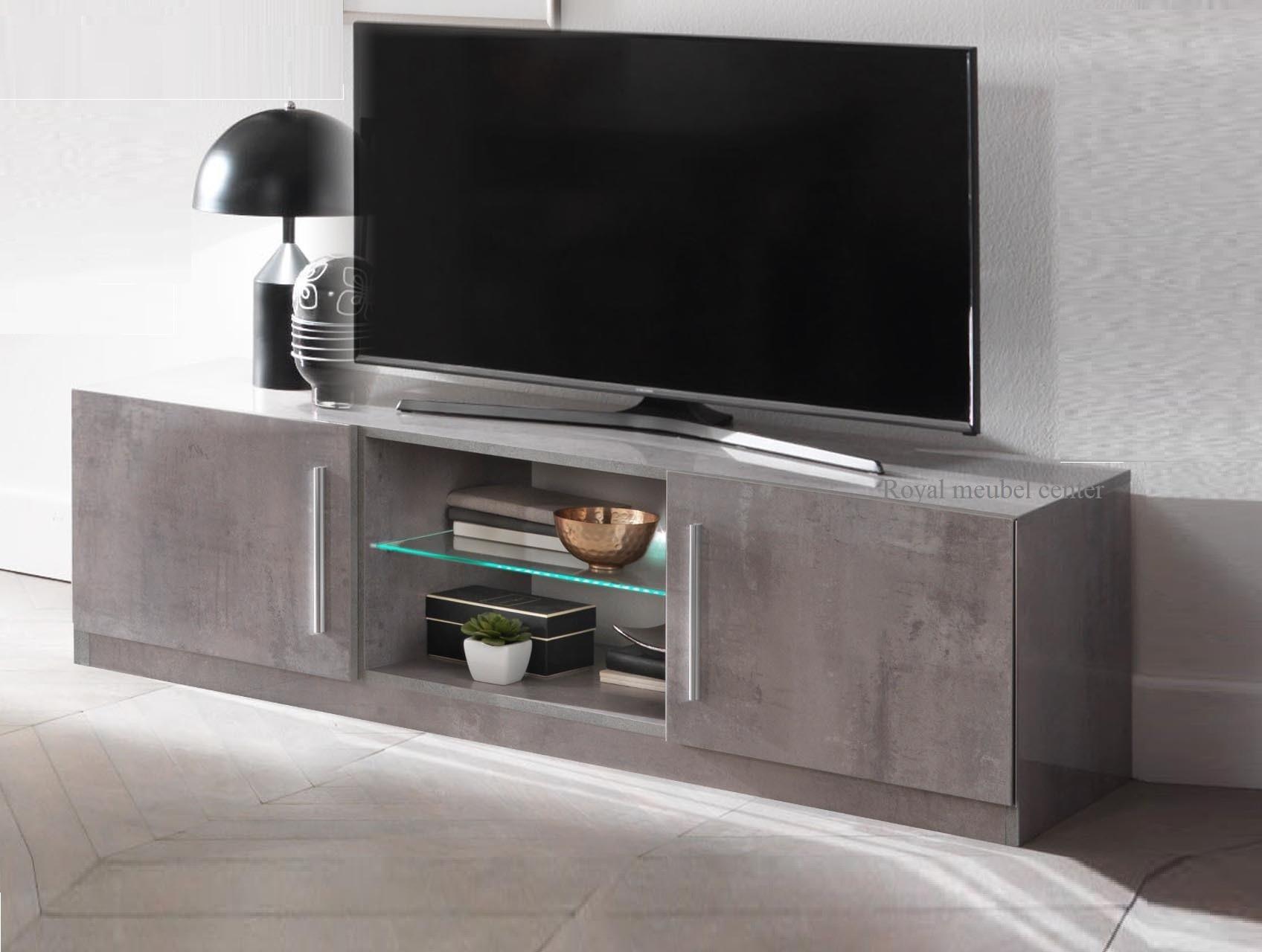 Tv Plasma Kast.Tv Meubel Granada Hoogglans Marmer Beton 156 Cm Met Led Lamp Tv