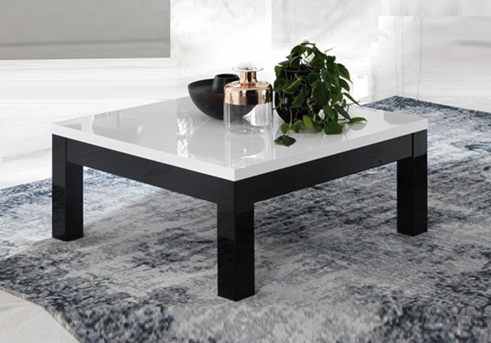 Zwart Wit Salon Tafel.Salontafel Forever Hoogglans Zwart Wit Vierkant