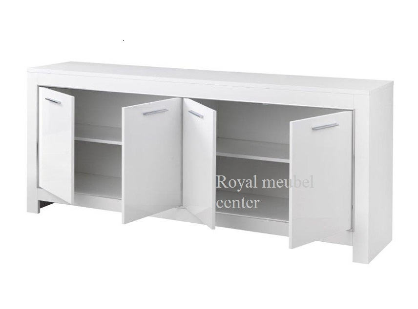 Dressoir chrome hoogglans wit 4 deurs dressoir royal boxspring