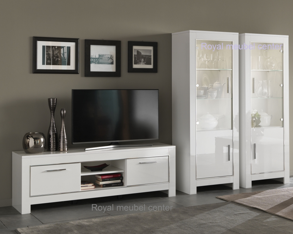 Witte woonkamer sets : Woonkamer meubel hoogglans wit new chrome 2 ...