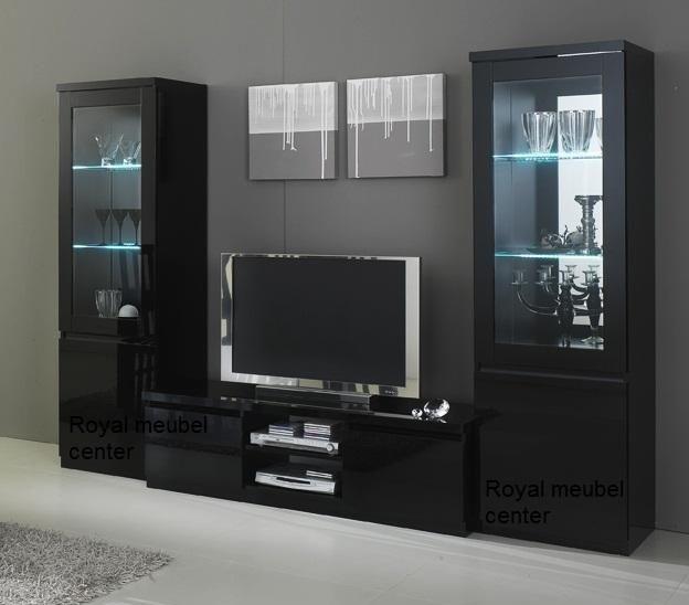 Woonkamer meubel Hoogglans zwart italiaanse forever 2 - Complete ...